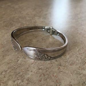 Vintage Spoon Sterling Silver Floral Bracelet